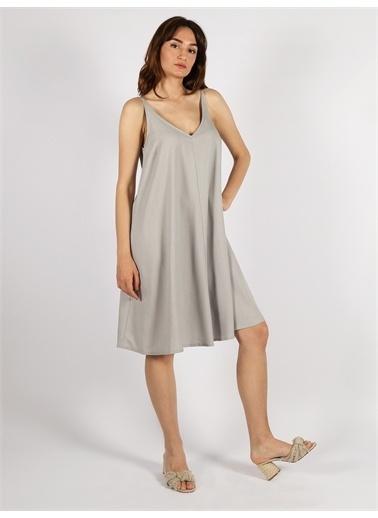 Vekem-Limited Edition Askılı Rahat Kesim Elbise Gri